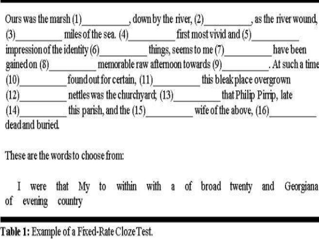 sample cloze test activity A cloze test (also cloze deletion test) is an exercise clozeline, cloze activities with songs for spanish class online cloze test creator, learnclickcom.